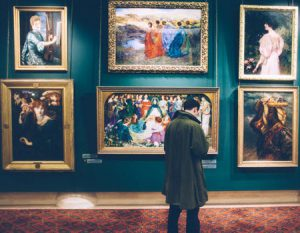 A man in the art gallery