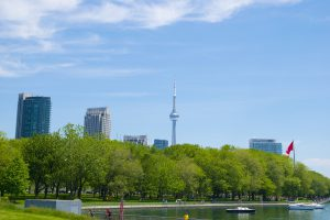 Park by the lake and Toronto skyline in the background.
